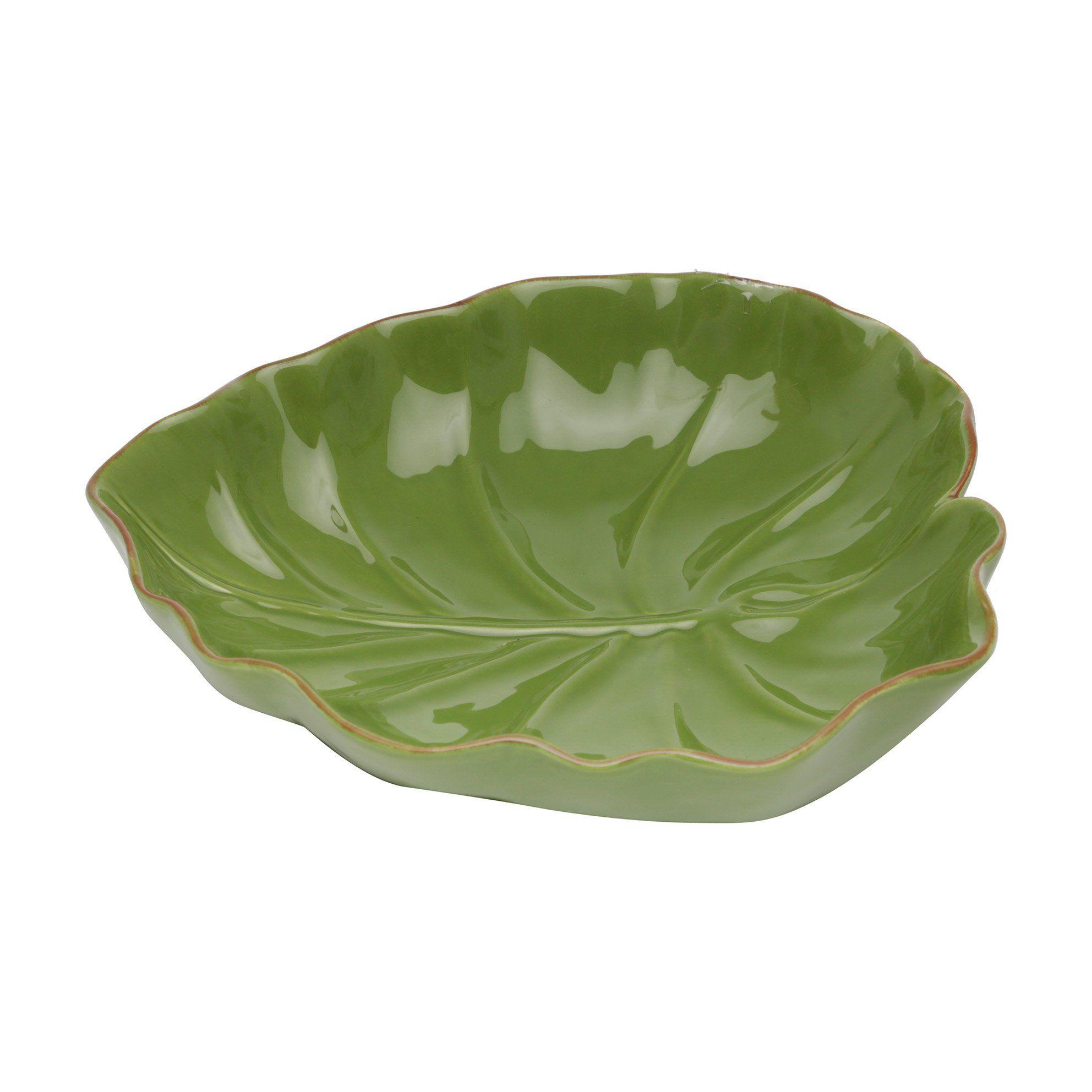 Folha decorativa 28,5 x 27 cm de cerâmica verde Lyor - L3873