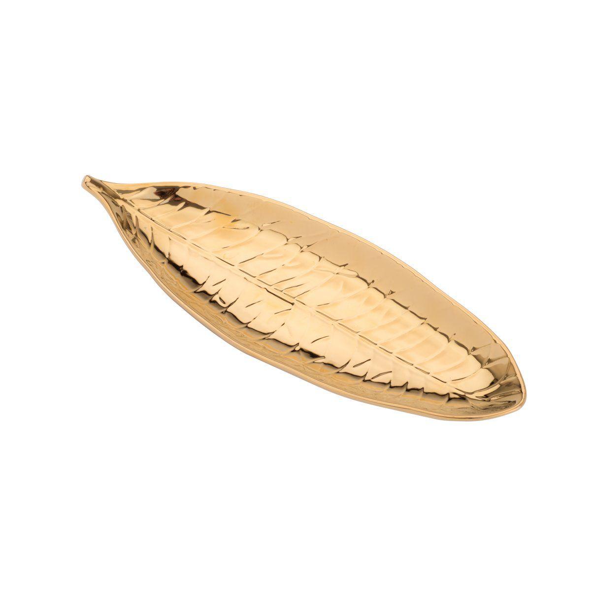 Folha decorativa 31,5 x 12 cm de porcelana dourada Pachira Prestige - 26814