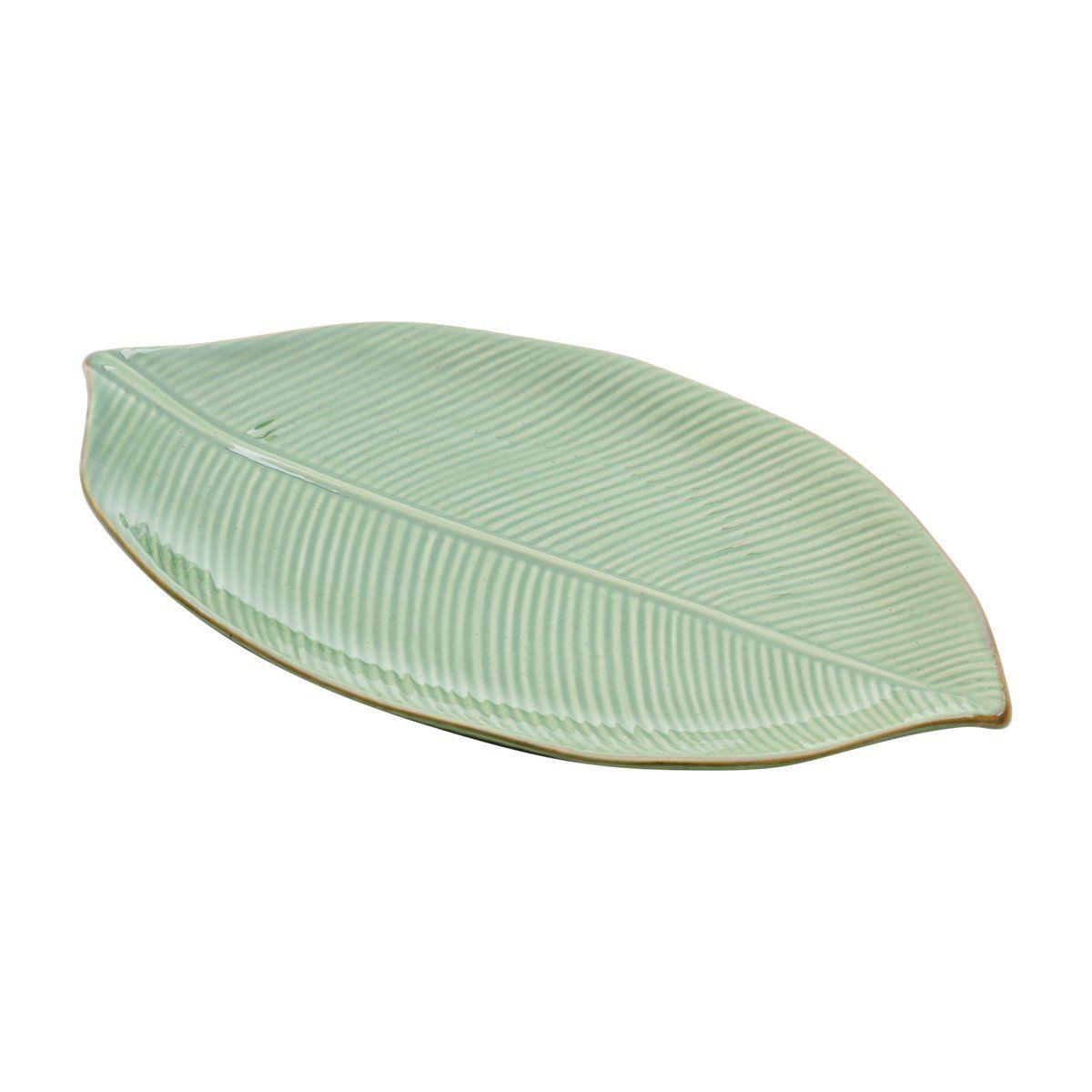 Folha decorativa 35,5 x 20,5 cm de cerâmica verde Banana Leaf Lyor - L4124