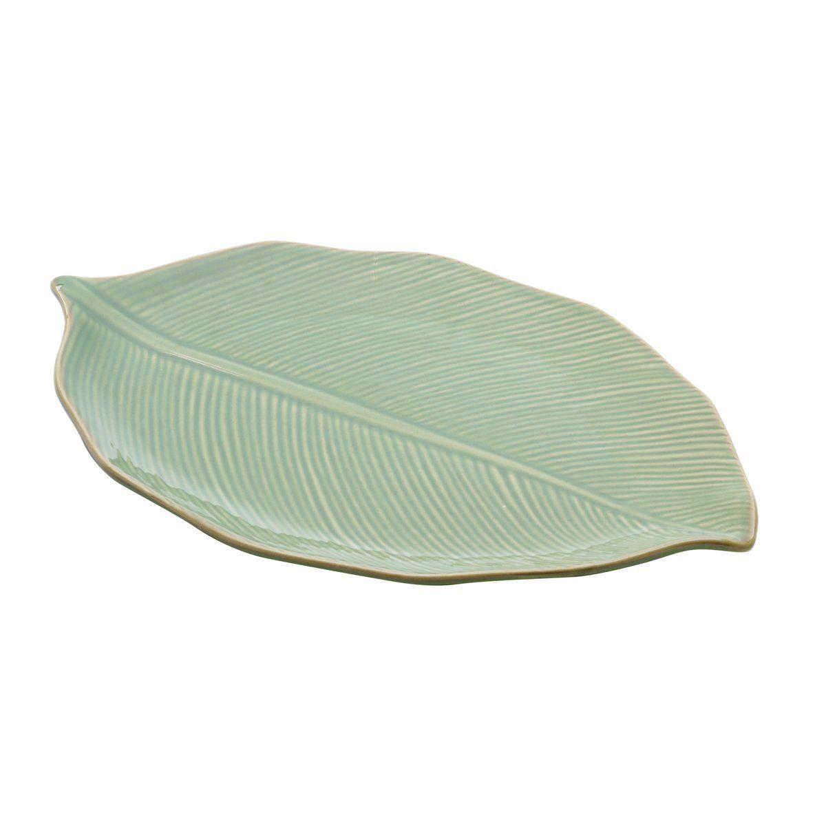 Folha decorativa 38 x 24 cm de cerâmica verde Banana Leaf Lyor - L4123