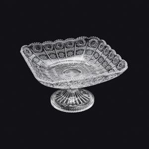 Fruteira 28 cm de cristal transparente com pé Starry Wolff - 30197