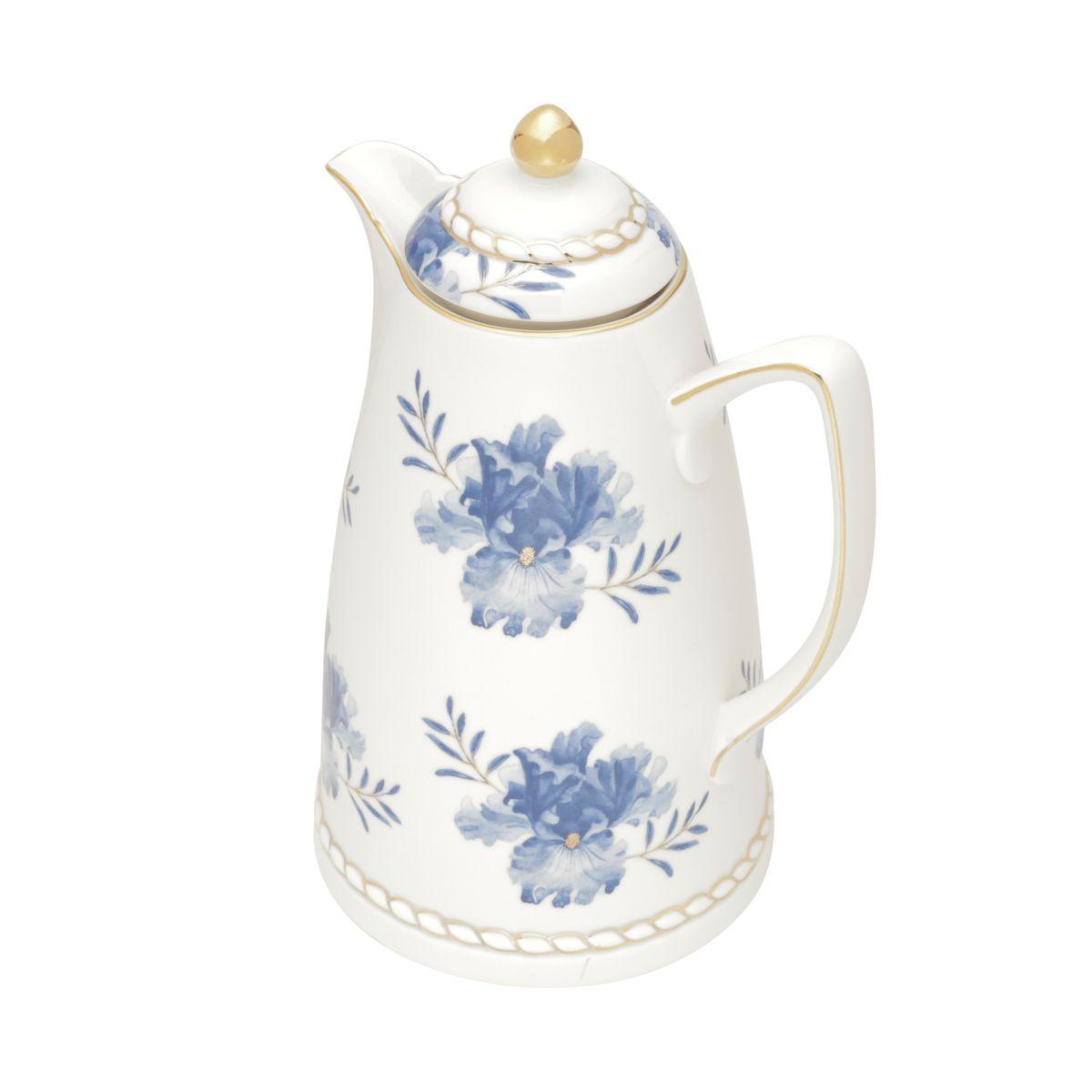 Garrafa Térmica 900ml para café ou chá de porcelana branca Floral Wolff - 35579