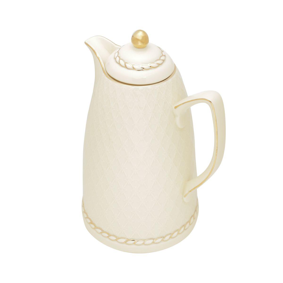 Garrafa Térmica 900ml para café ou chá de porcelana creme Renda Wolff - 35491