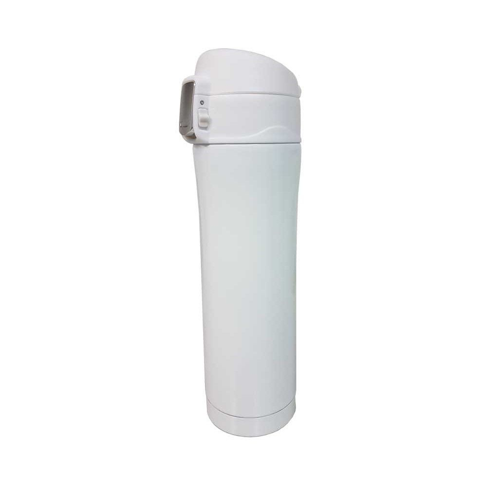 Garrafa térmica portátil 450ml de aço inox branco com trava Vacuum Pontual - P143275W