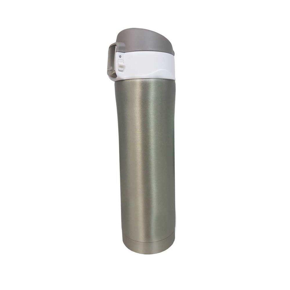 Garrafa térmica portátil 450ml de aço inox bronze com trava Vacuum Pontual - P143275S