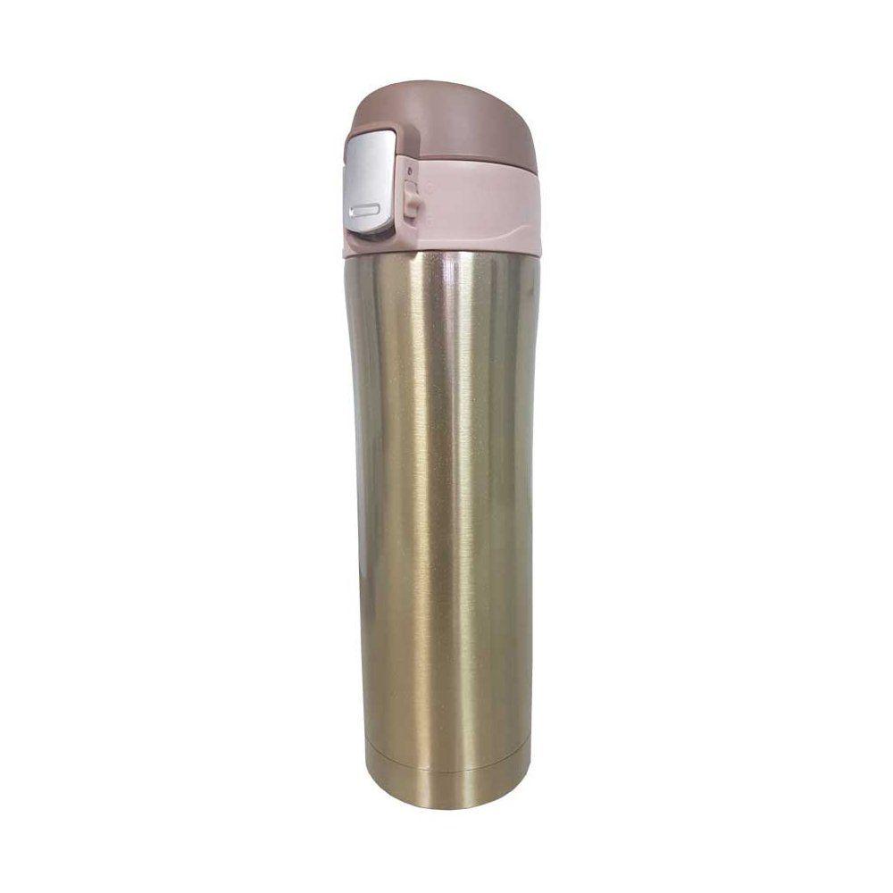 Garrafa térmica portátil 450ml de aço inox dourado com trava Vacuum Pontual - P143275D