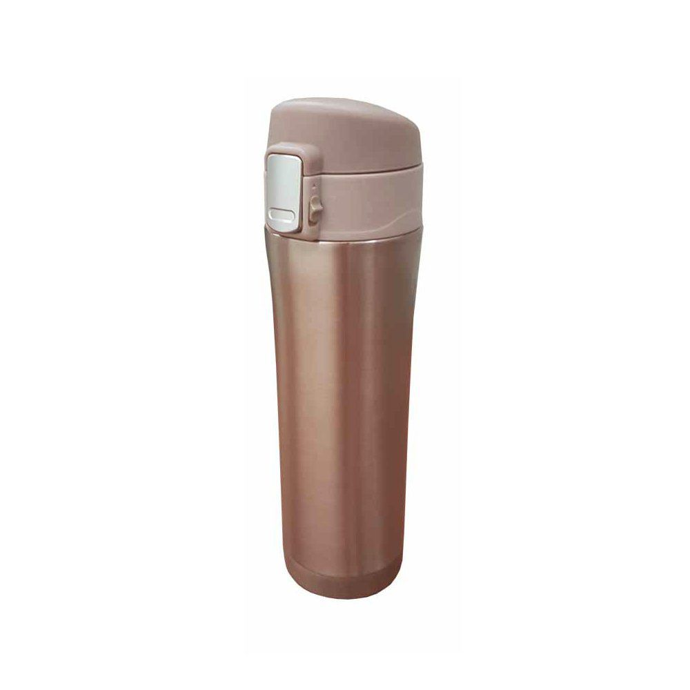 Garrafa térmica portátil 450ml de aço inox rosé gold com trava Vacuum Pontual - P143275R