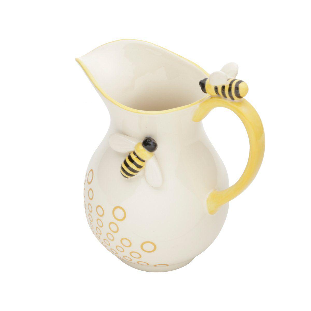 Jarra 1,1 litro de cerâmica branca e amarela Abelha Lyor - L64020