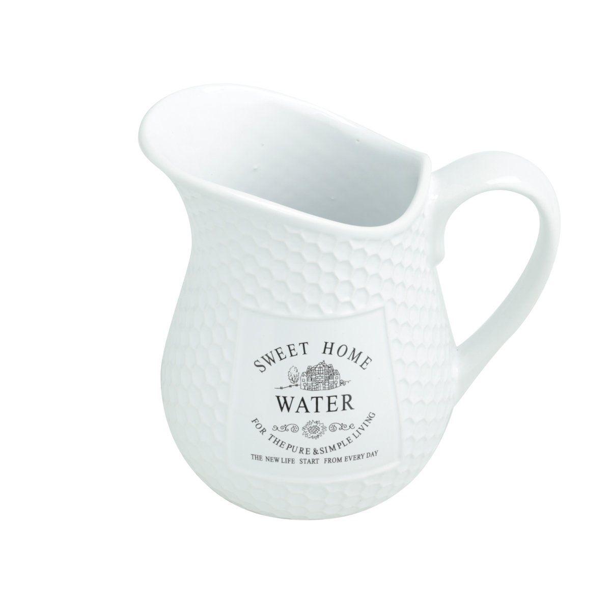 Jarra 1,53 litro para água de porcelana branca Sweet Home Bon Gourmet - 27447