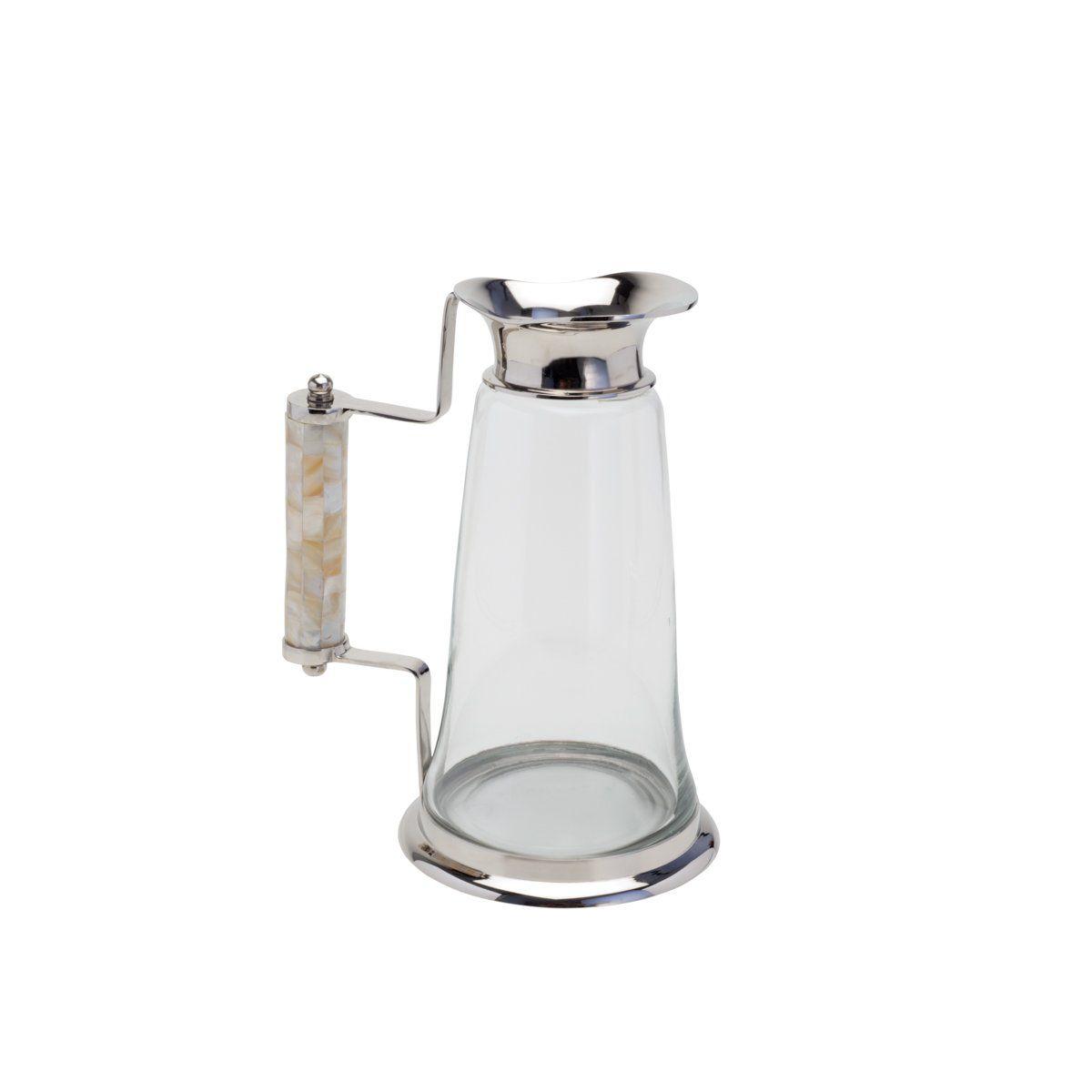 Jarra de 1,3 litros de vidro transparente e latão com madrepérola  L' Hermitage - 26525