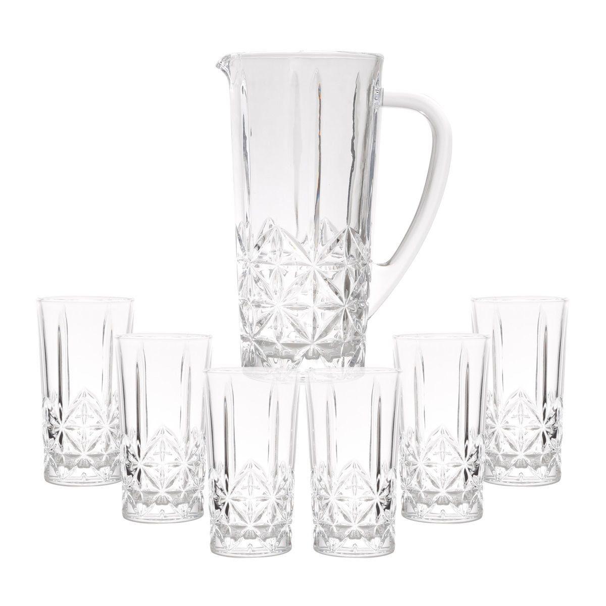 Conjunto Jarra 1 litro + 6 copos 290ml de vidro Stella Transparente Bon Gourmet - 25824