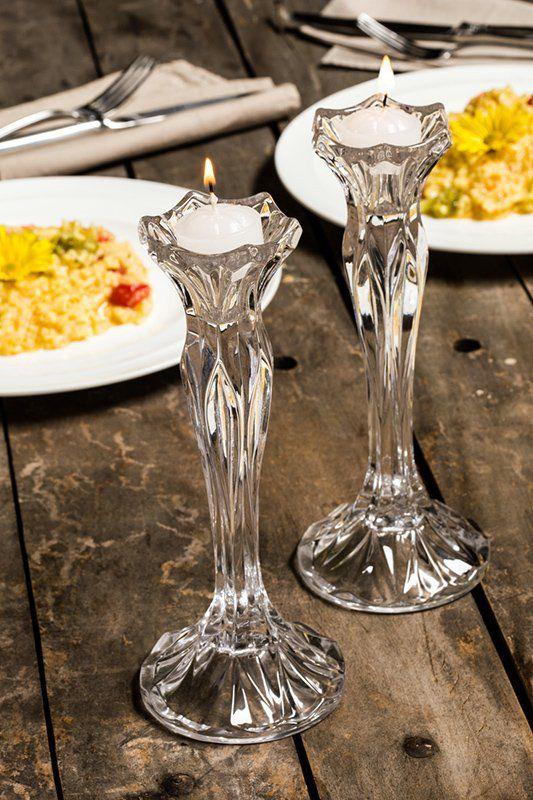 Jogo 2 peças Castiçal 22,5 cm para velas de cristal transparente Louise Wolff - 2928