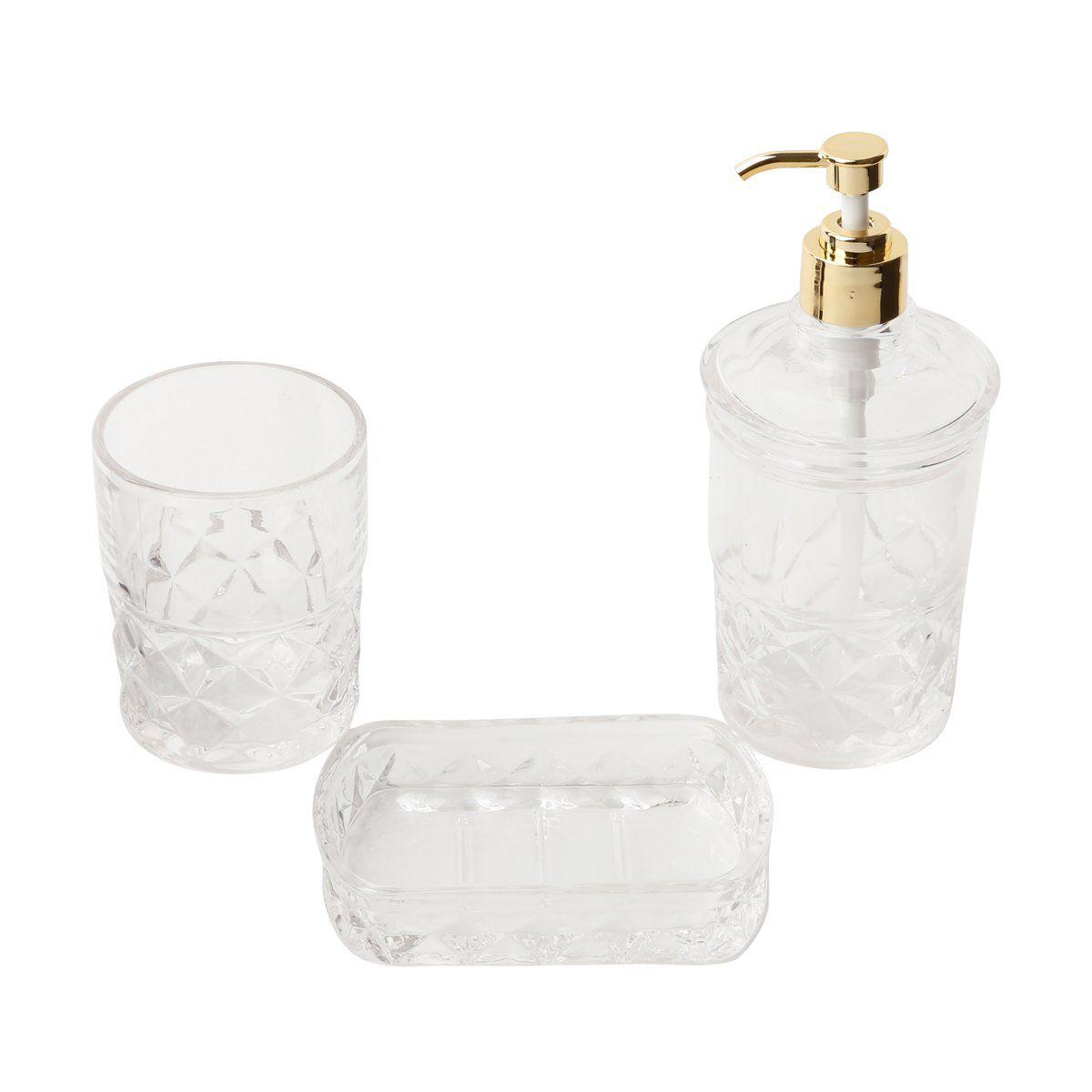 Jogo 3 peças para banheiro de vidro transparente Royal Bon Gourmet – 25822