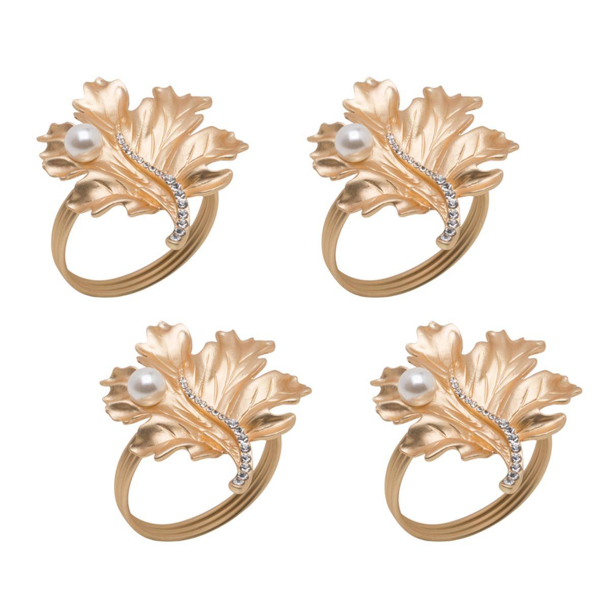 Jogo 4 anéis para guardanapo em zamac dourado Leaves Prestige - 26513