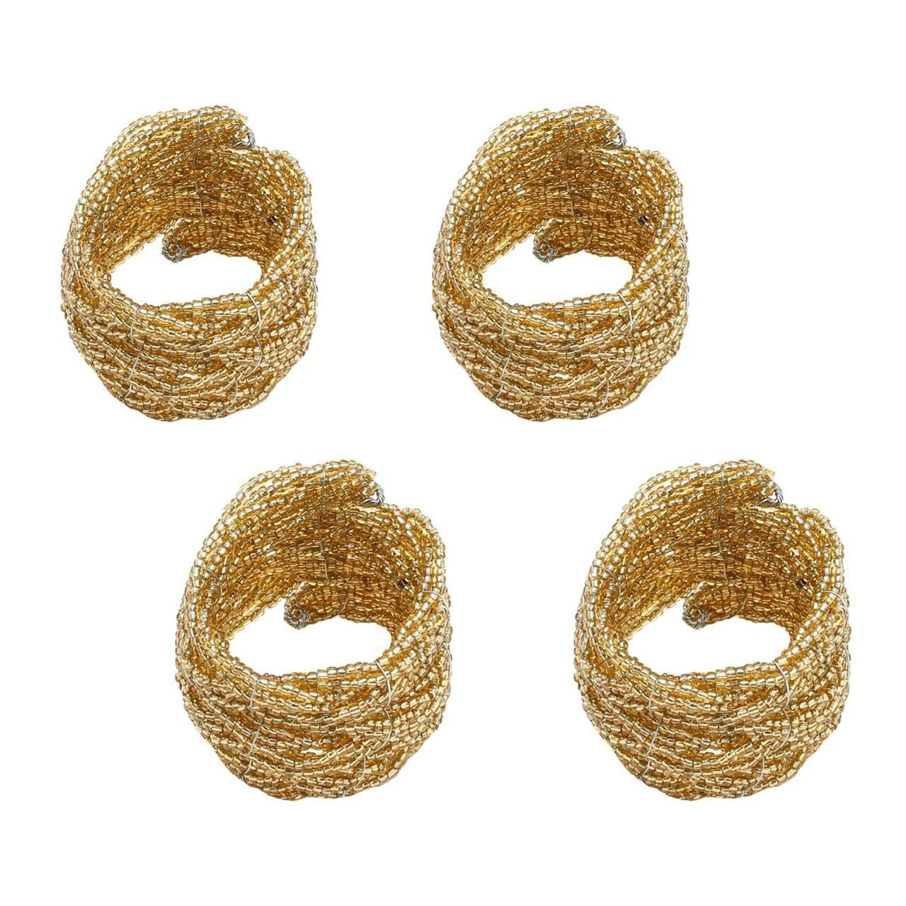 Jogo 4 anéis para guardanapo de miçanga Gold Bon Gourmet - 4042