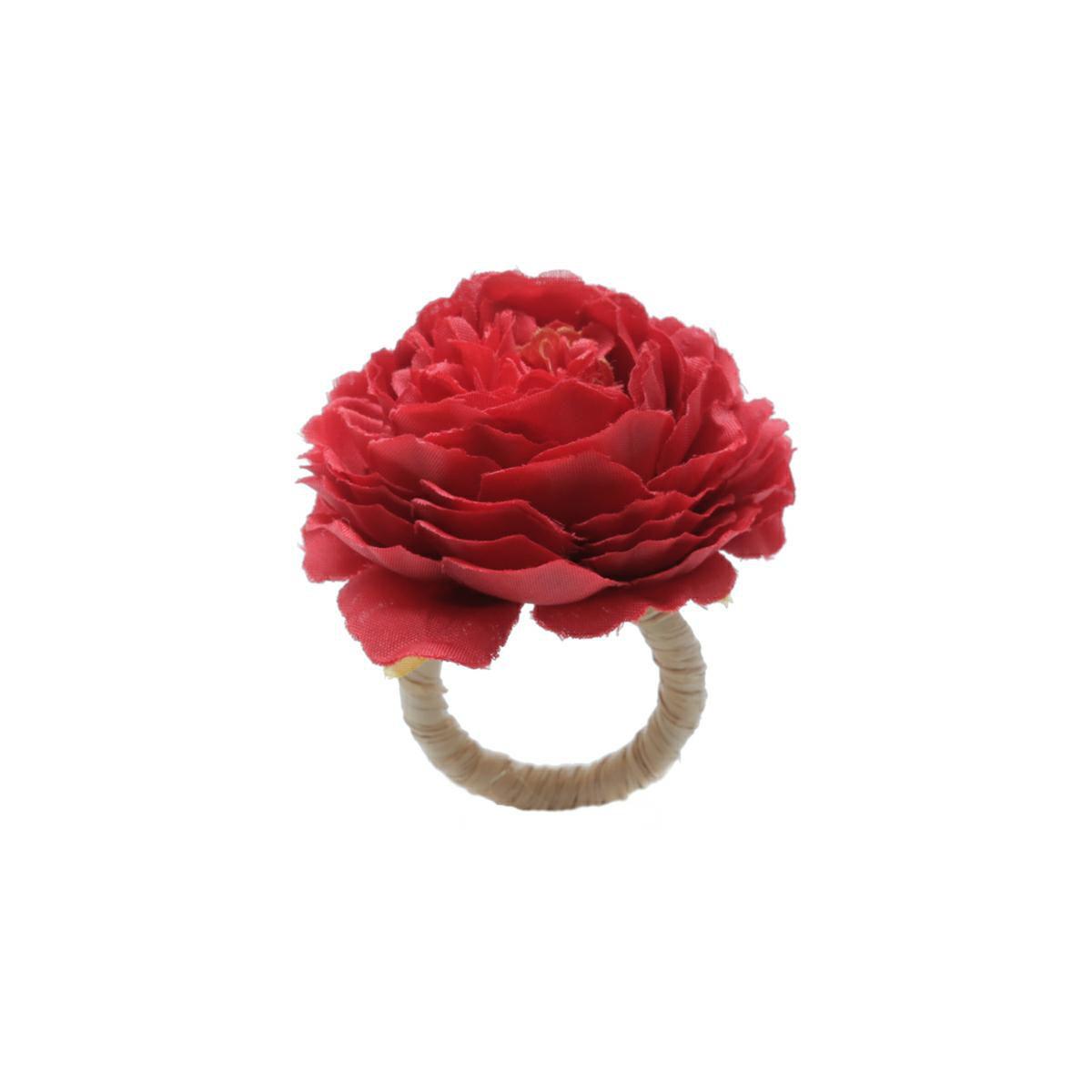 Jogo 4 anéis para guardanapo 12,5 cm de plástico Cravo Vermelho Bon Gourmet - 35479