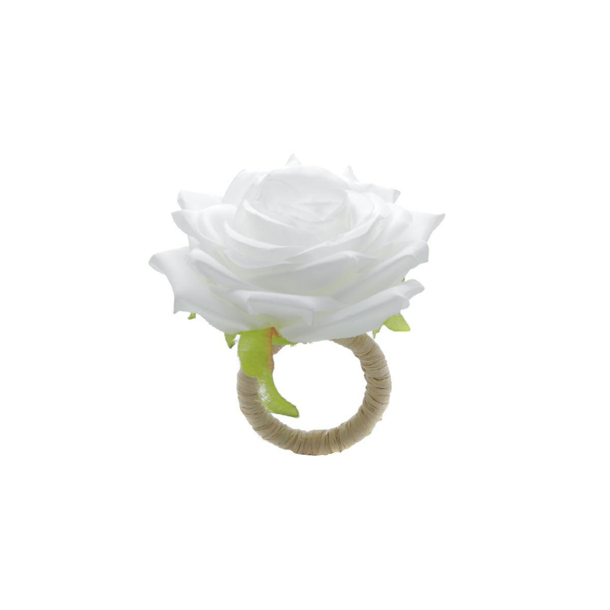 Jogo 4 anéis para guardanapo 13 cm de plástico Rosa Branca Bon Gourmet - 35478
