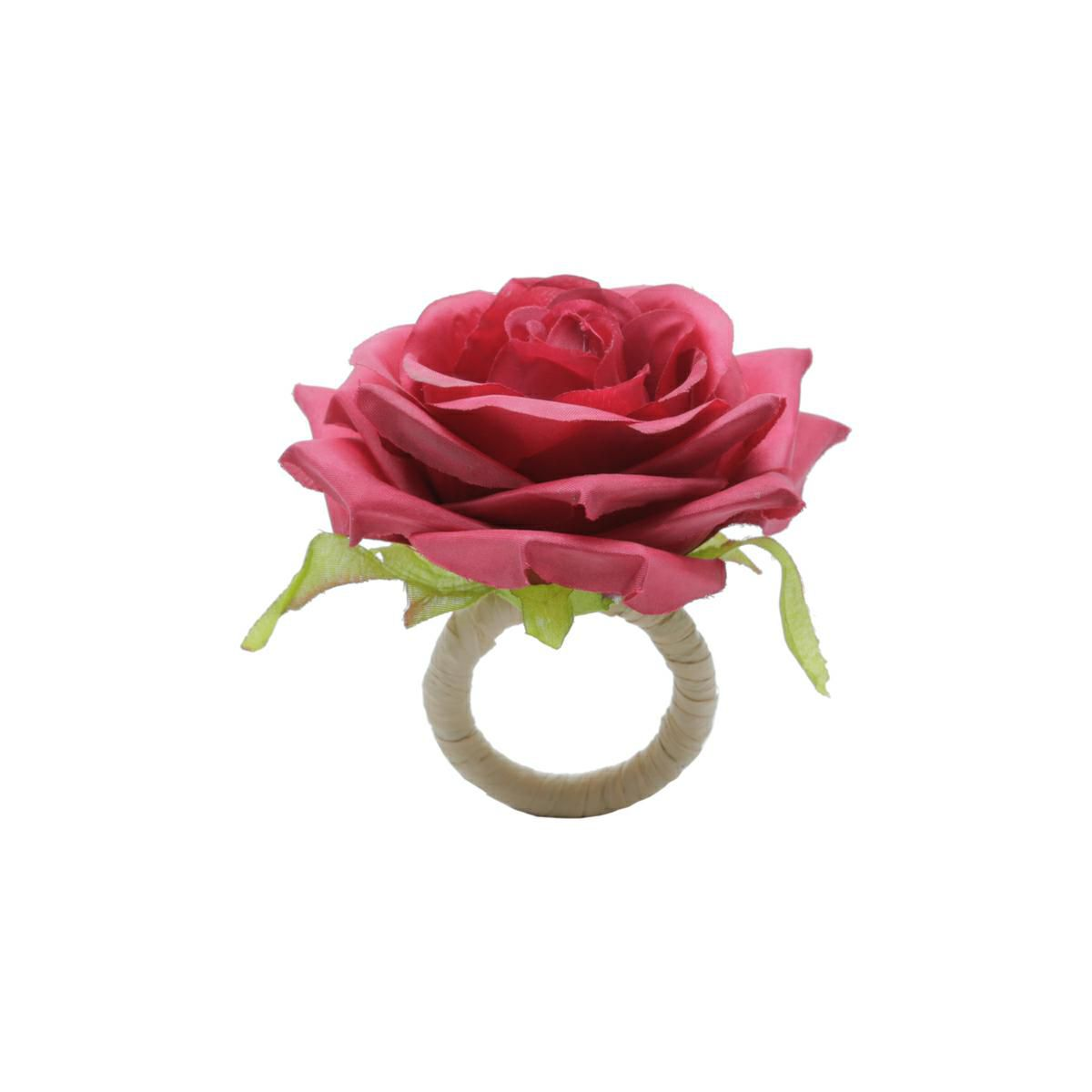 Jogo 4 anéis para guardanapo 13 cm de plástico Rosa Vermelha Bon Gourmet - 35477