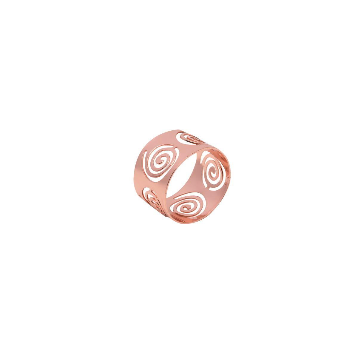 Jogo 4 anéis para guardanapo de aço inox rosé gold Circles Prestige - 26511