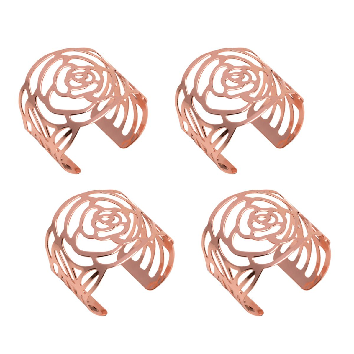 Jogo 4 anéis para guardanapo de aço inox rosé gold Cut Prestige - 26510