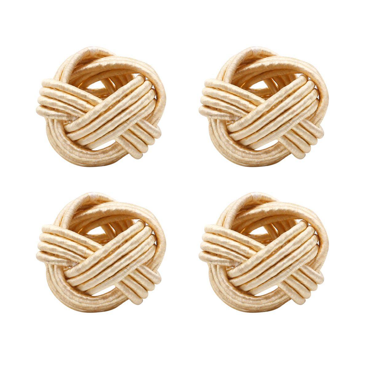Jogo 4 anéis para guardanapo de tecido dourado Ally Bon Gourmet - 27174