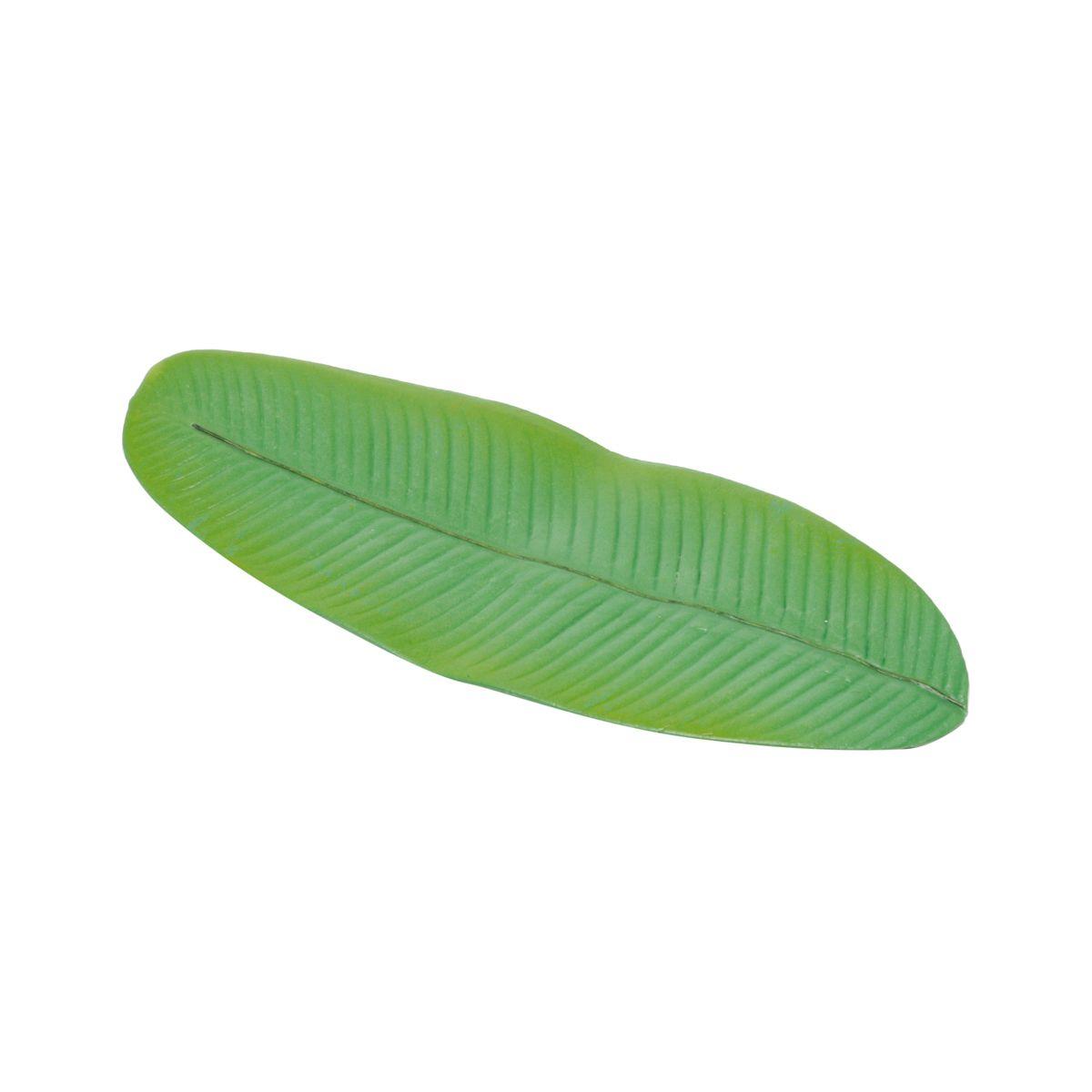 Jogo 4 anéis para guardanapo e descanso para talher de plástico Folha Bananeira Lyor - L7105