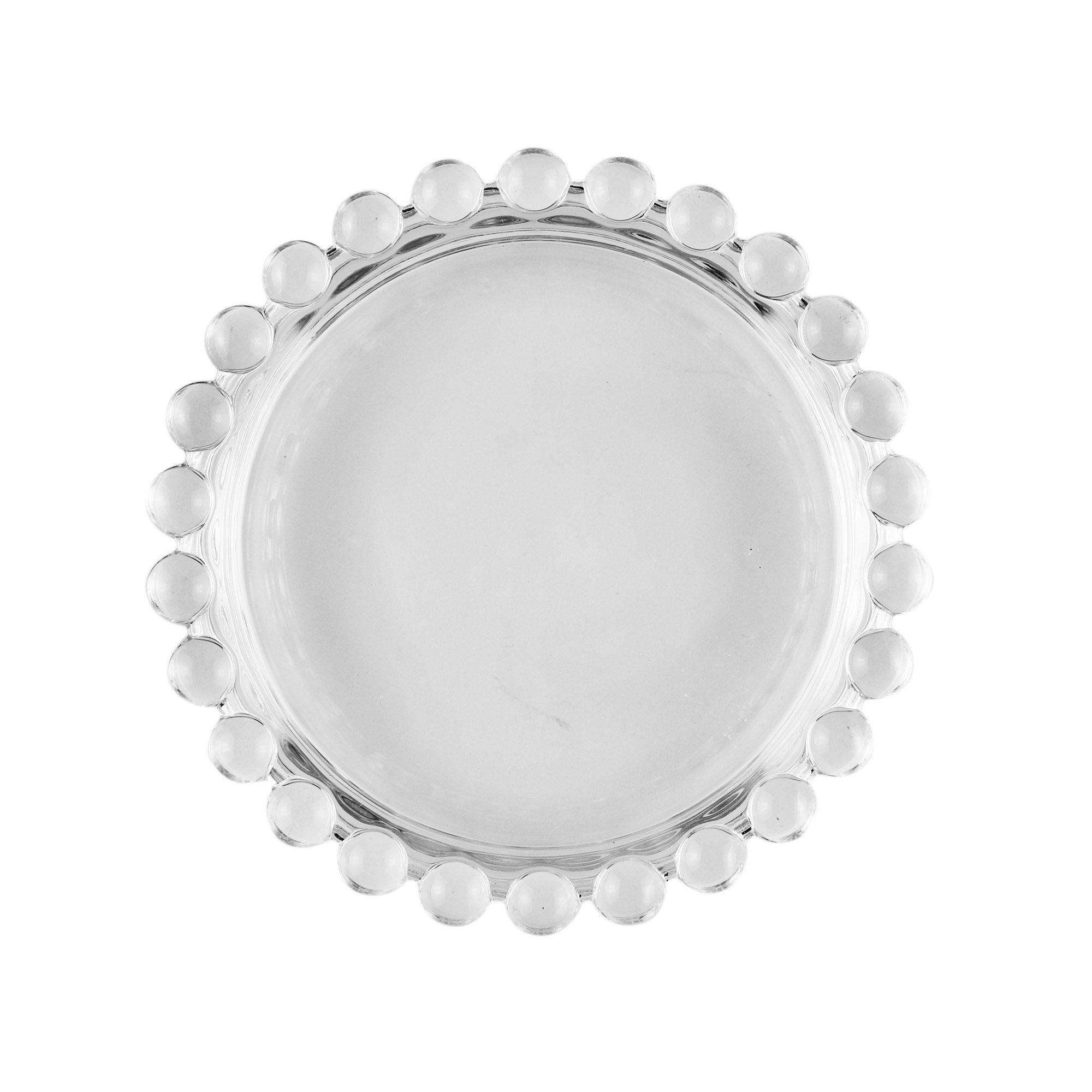 Jogo 4 pratos 10 cm para sobremesa de cristal transparente Pearl Wolff - 27897