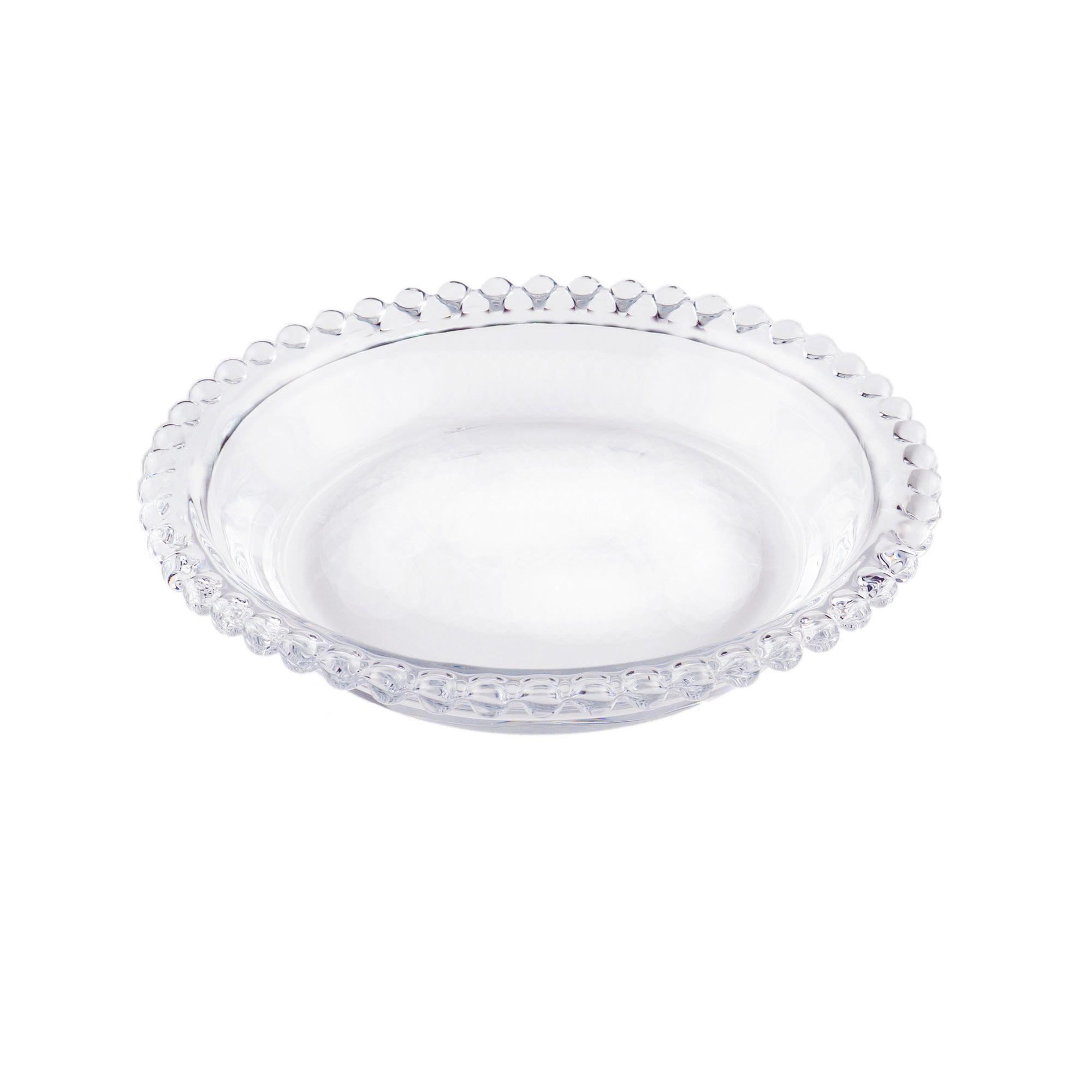 Jogo 4 pratos 14 cm para sobremesa de cristal transparente Pearl Wolff - 27892