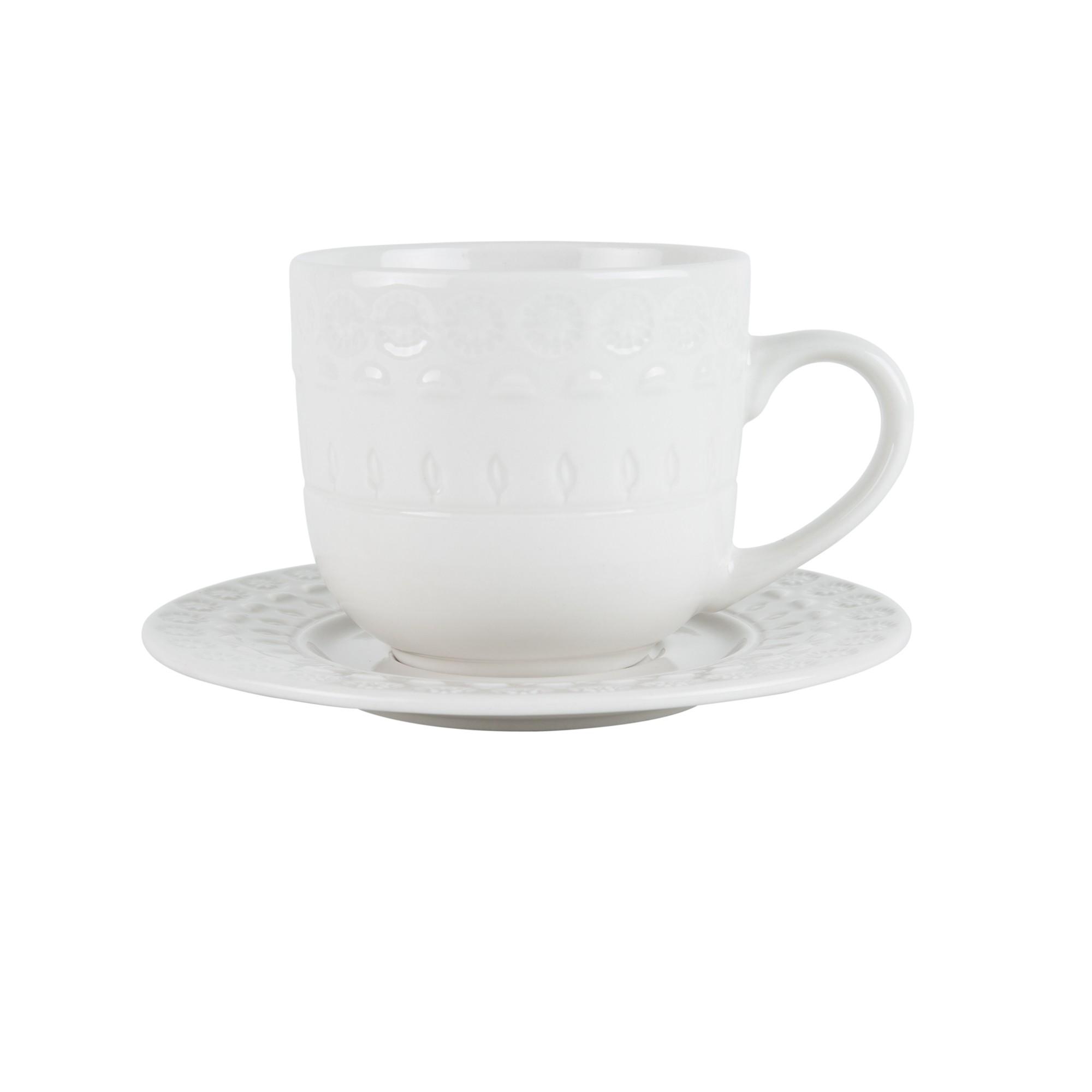 Jogo 4 xícaras 250ml para chá de porcelana branco com pires Grace Wolff - 17579