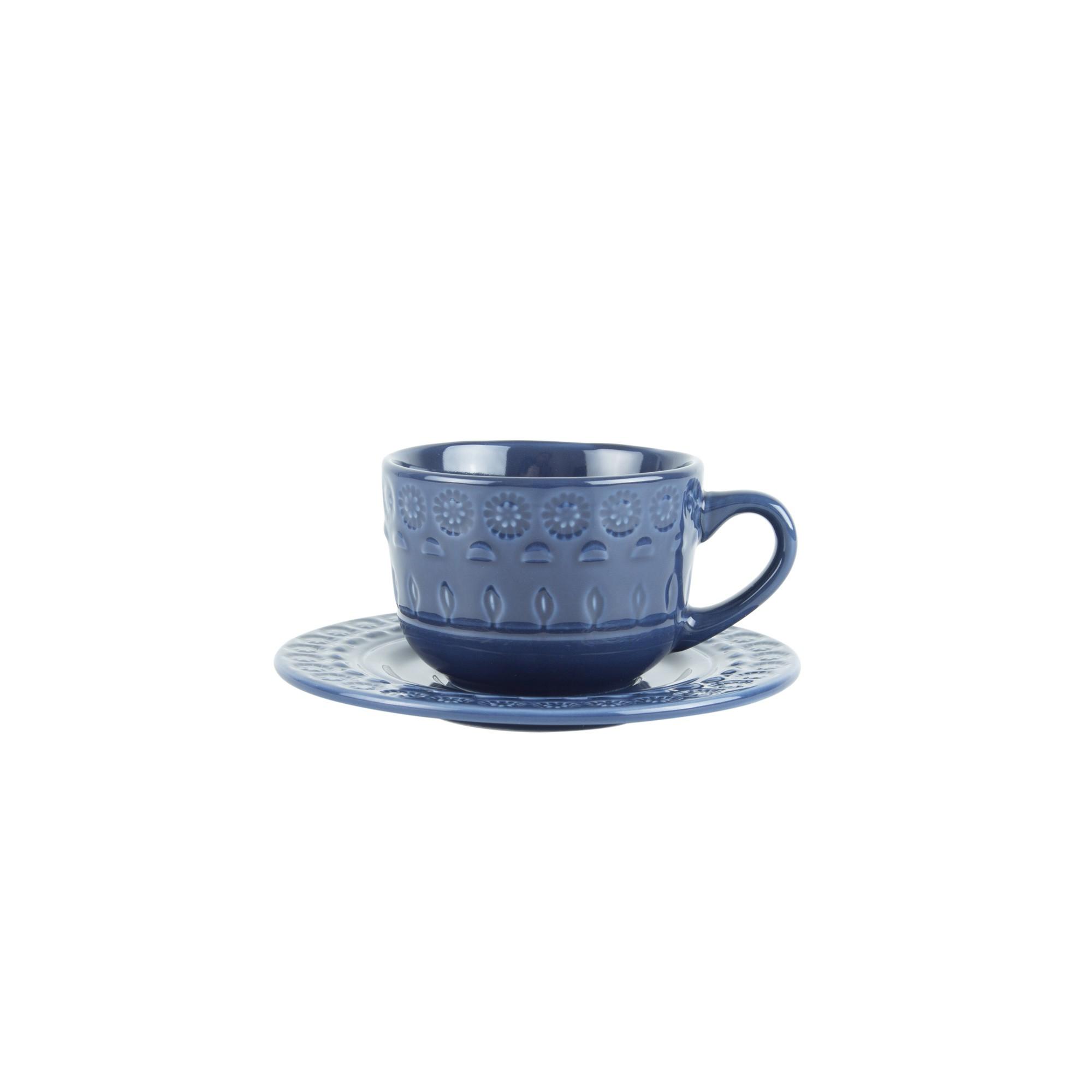 Jogo 4 xícaras 80ml para café de porcelana azul com pires Grace Wolff - 17564