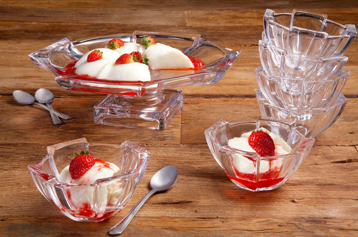 Jogo 6 bowls 12,5 cm para sobremesa de cristal transparente Stage Wolff - 25540
