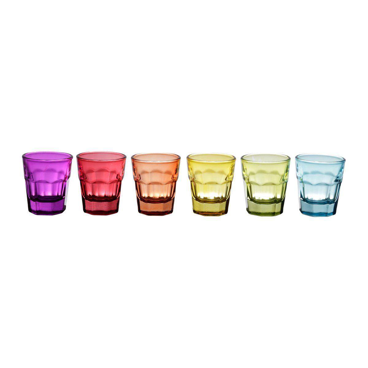 Jogo 6 copos 30ml para shot de vidro faces coloridos Lyor - L6740