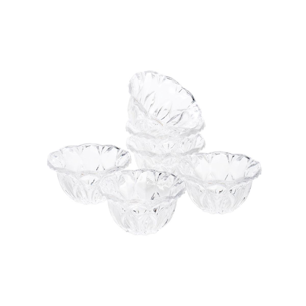 Jogo 6 bowls 12 cm para sobremesa de cristal transparente Louise Wolff - 5344