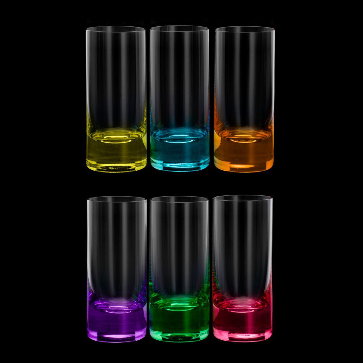 Jogo 6 copos 65ml para shot de cristal ecológico colorido Set-Bar Favorit Bohemia - 35027