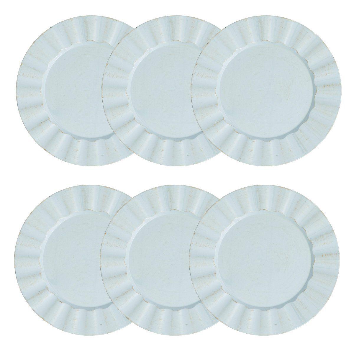 Jogo 6 peças Sousplat 33 cm de plástico azul e marrom Cook Bon Gourmet - 30300
