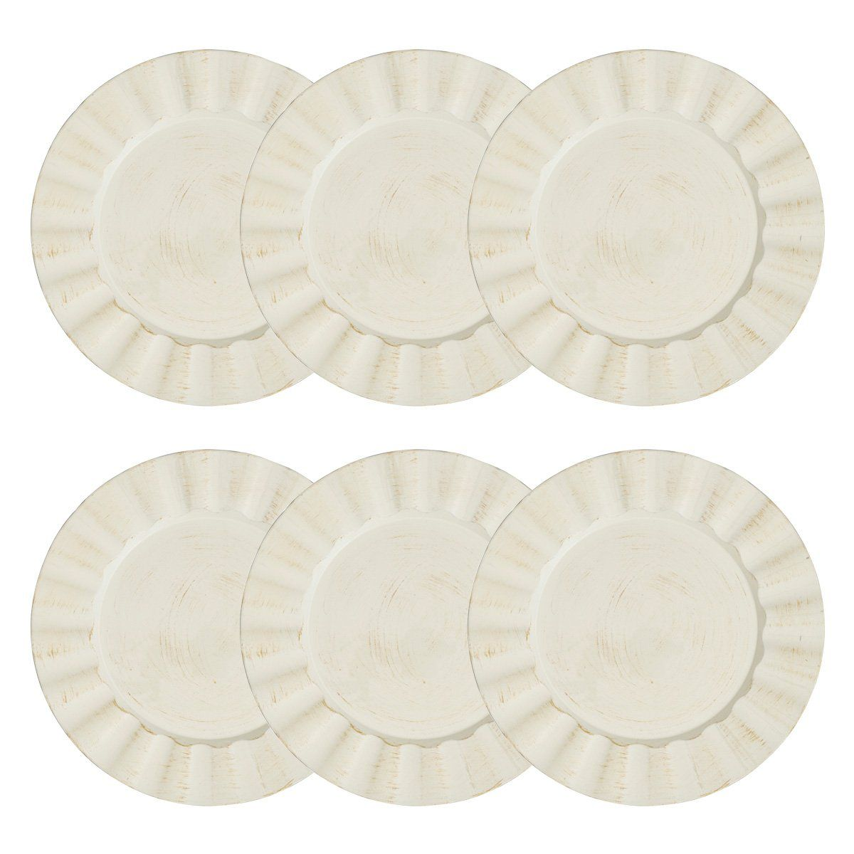 Jogo 6 peças Sousplat 33 cm de plástico bege e preto Cook Bon Gourmet - 30297