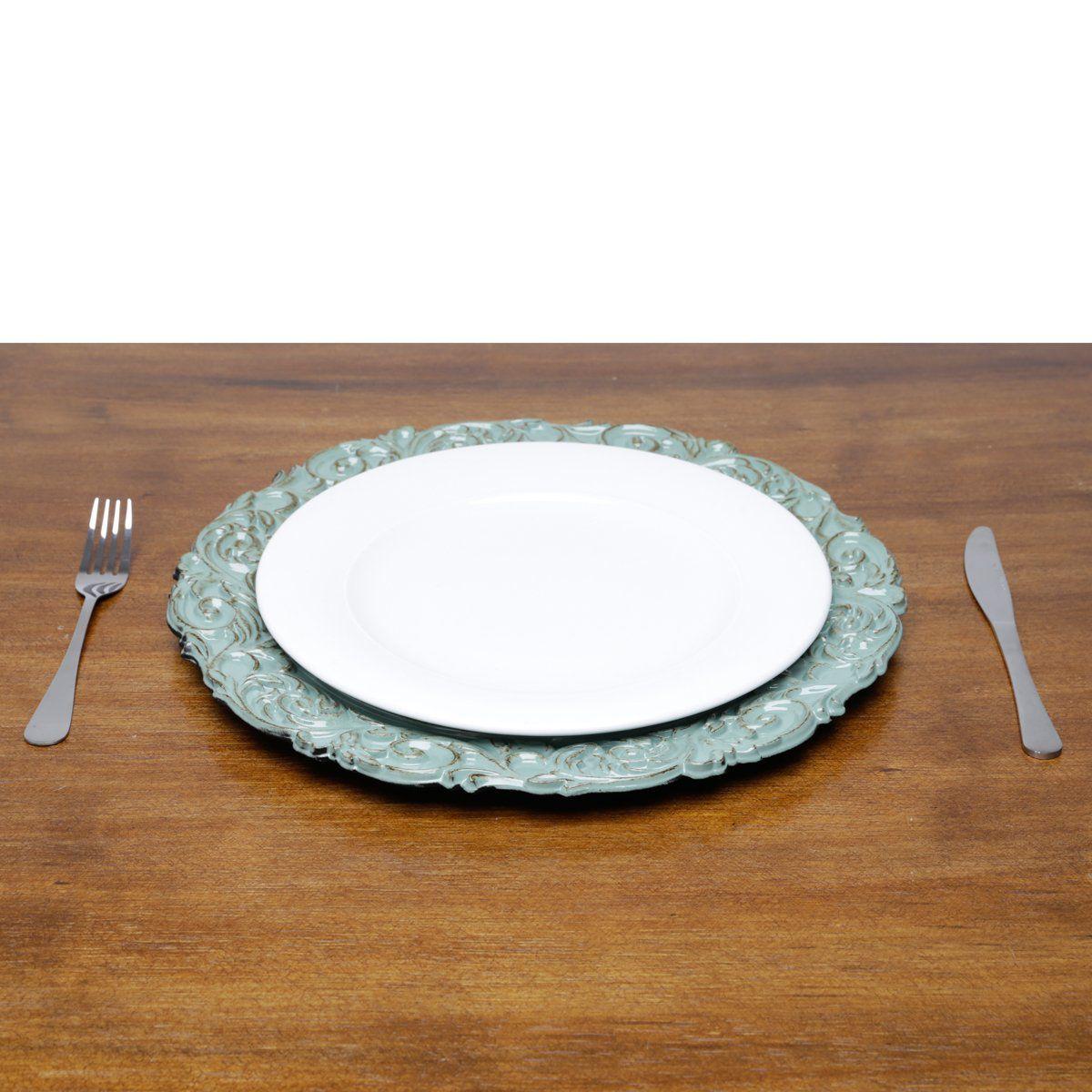 Jogo 6 peças Sousplat 35 cm de plástico verde e marrom Apolo Bon Gourmet - 30434