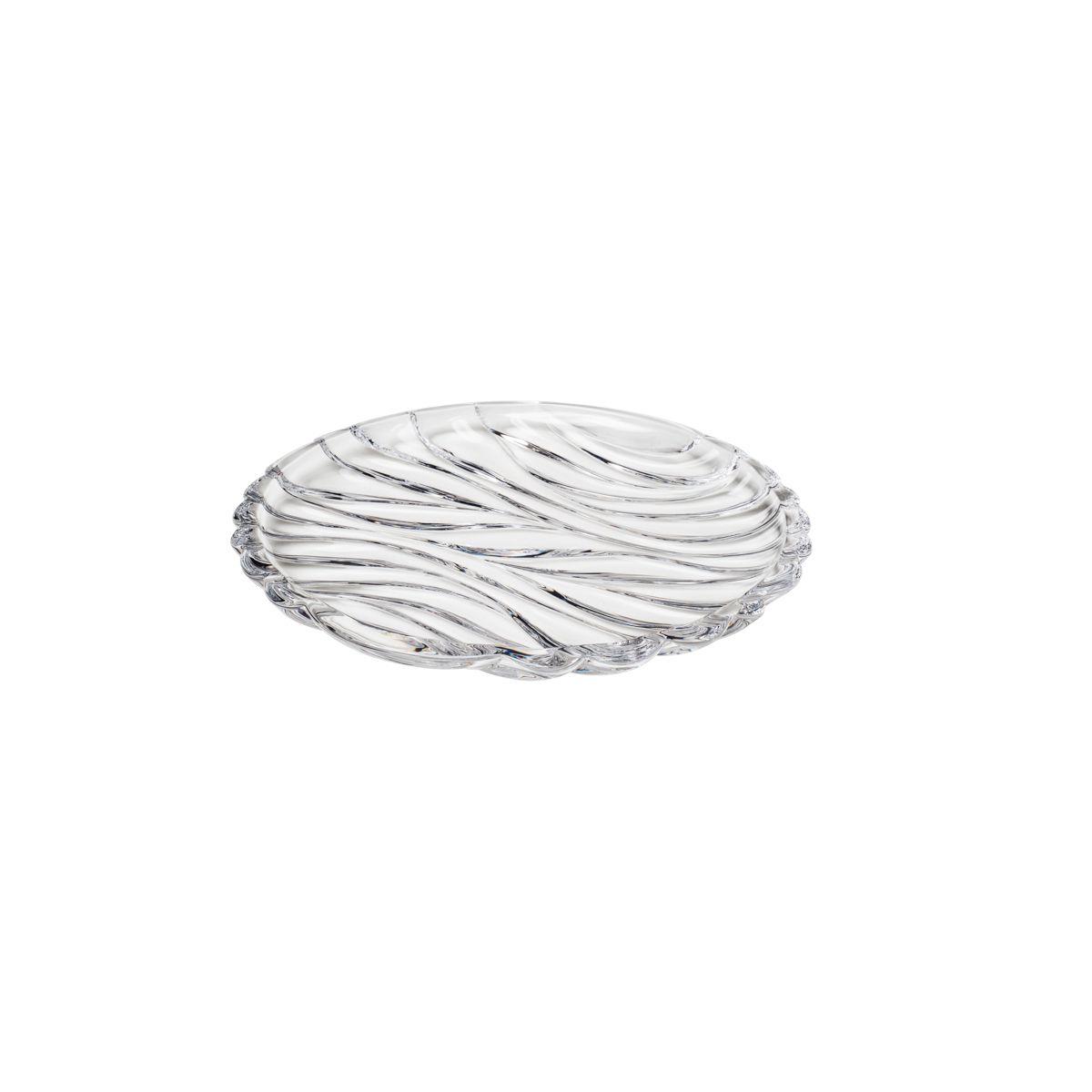 Jogo 6 pratos 18 cm para bolo de cristal transparente Bamboo Wolff - 26479