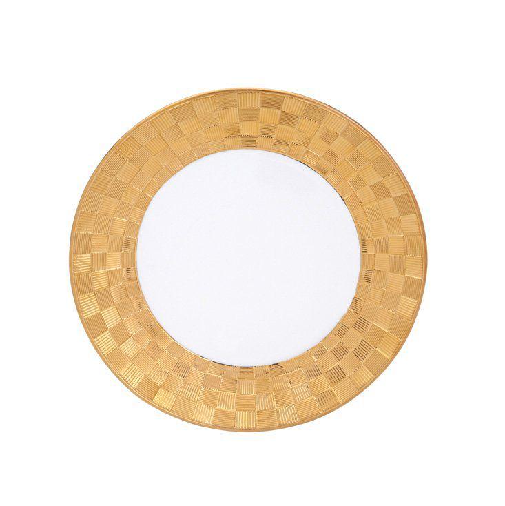 Jogo 6 pratos 19 cm para sobremesa de porcelana branca e dourada Vera Wolff - 17439