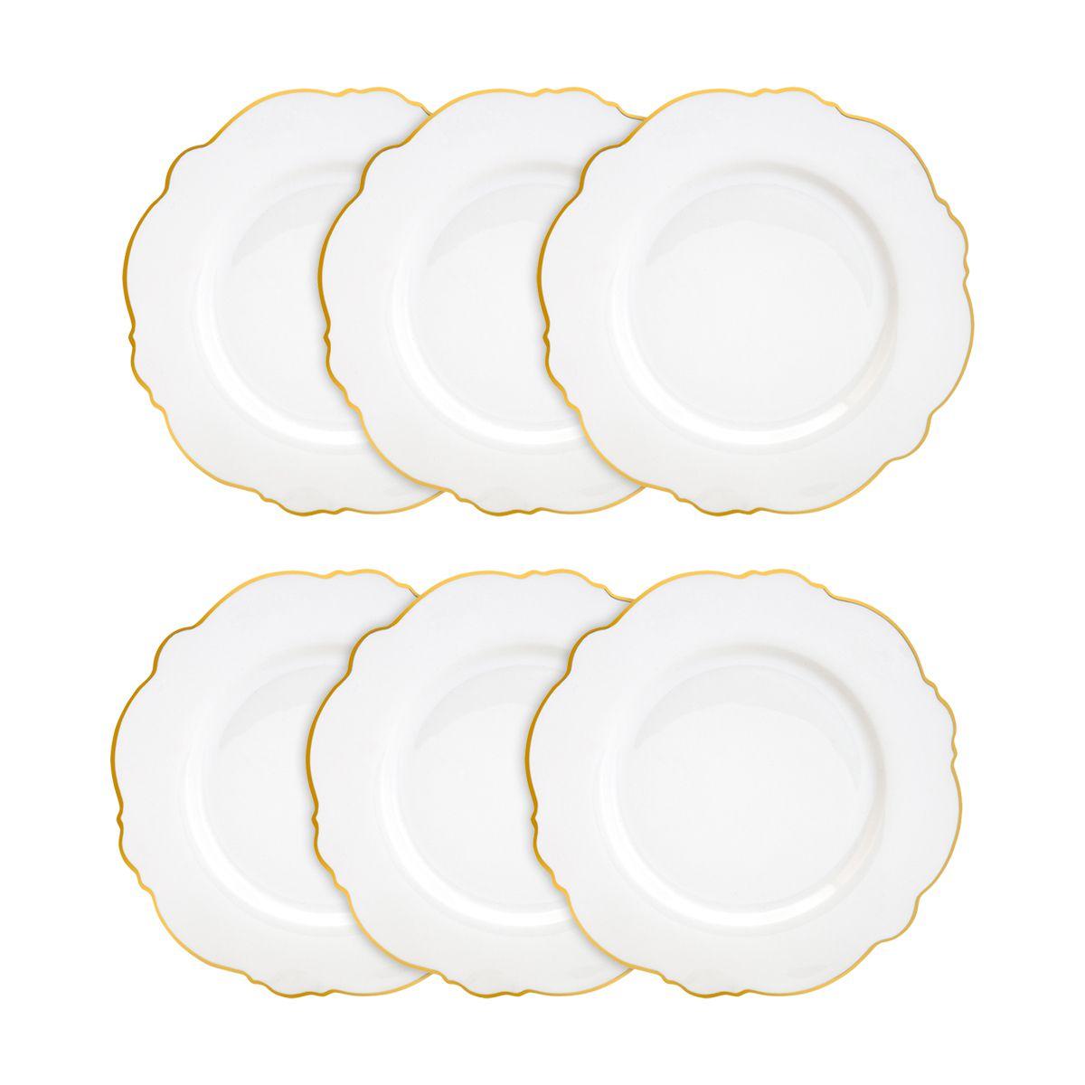 Jogo 6 pratos rasos 28 cm de porcelana branca com fio dourado Maldivas Wolff - 35370