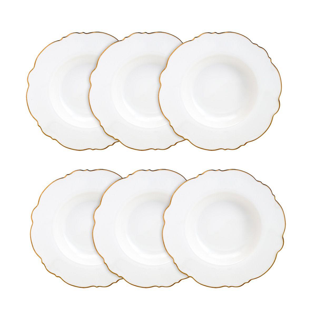 Jogo 6 pratos fundos 23 cm de porcelana branca com fio dourado Maldivas Wolff - 35372