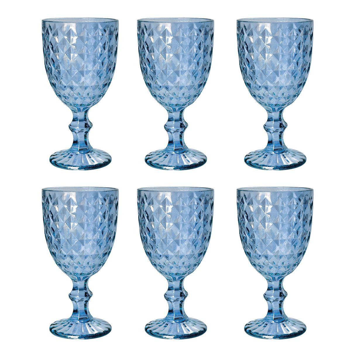 Jogo 6 taças 220ml para água de vidro azul Roman Bon Gourmet - 35457