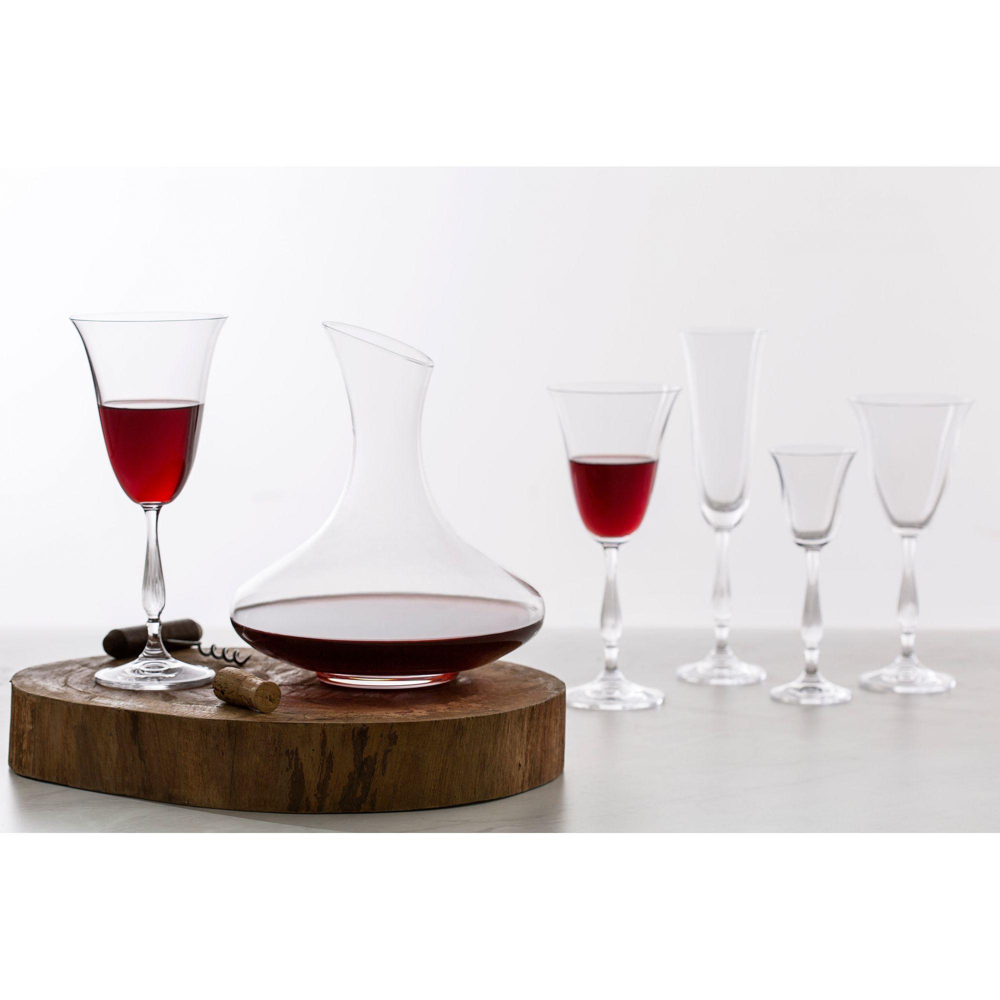 Jogo 6 taças 250ml para vinho tinto de cristal ecológico com titânio transparente Antik/Fregata Bohemia - L5532