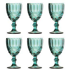 Jogo 6 taças 260ml para água de vidro azul tiffany Libélula Lyor - L66942