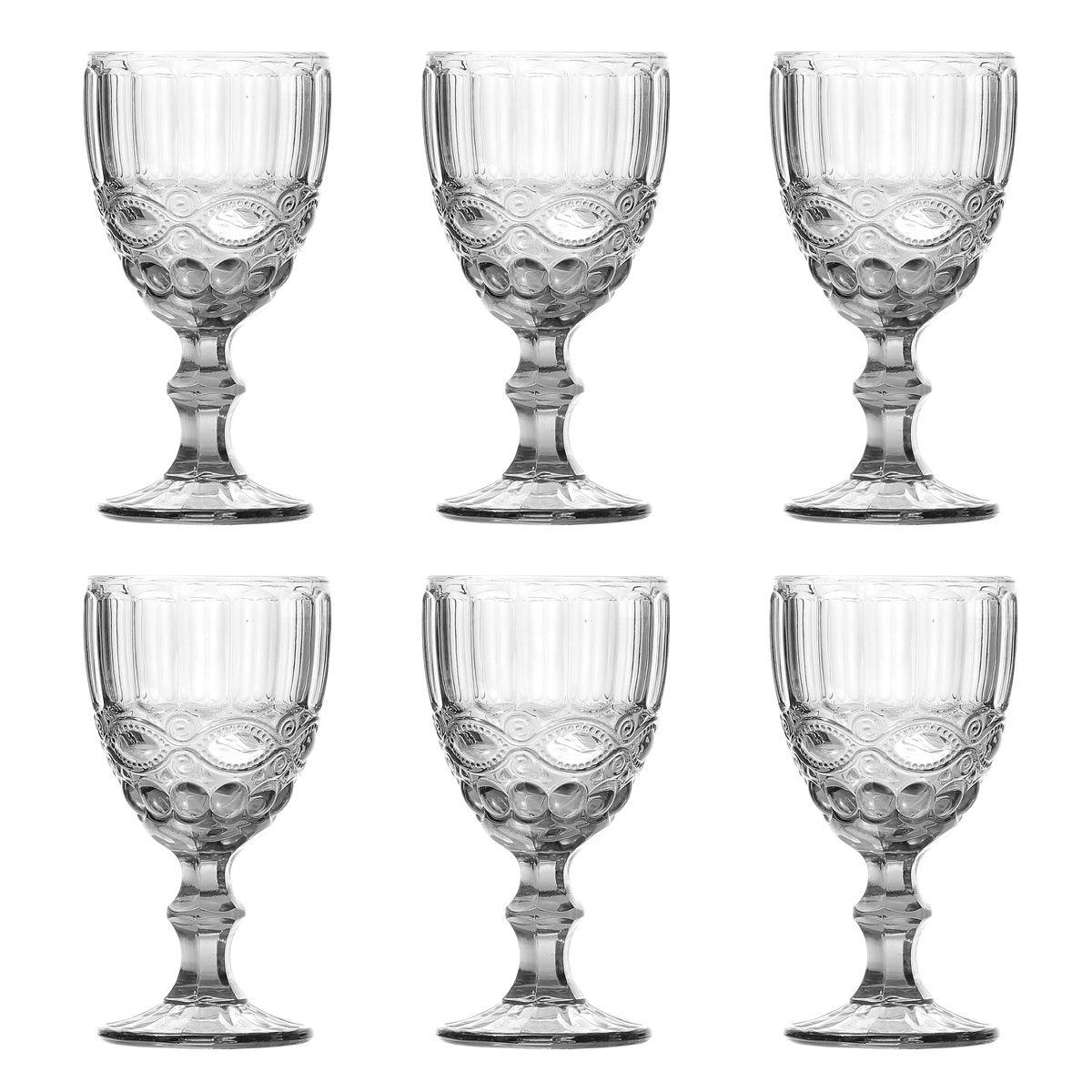 Jogo 6 taças 260ml para água de vidro transparente Libélula Lyor - L6479