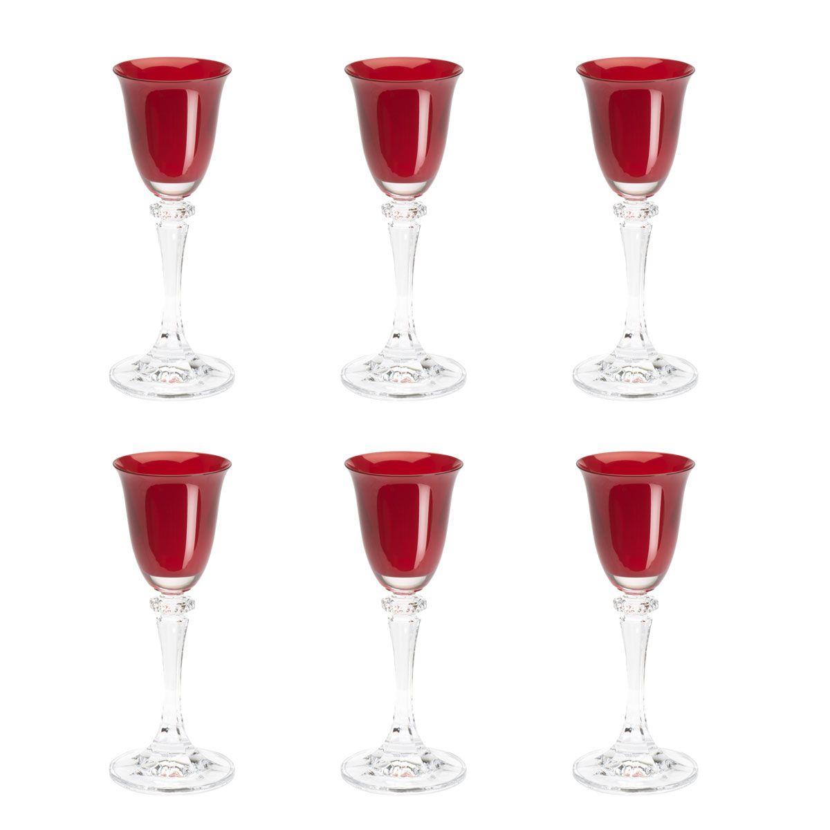 Jogo 6 taças 50ml para licor de cristal vermelho Kleopatra/Branta Bohemia - 5959