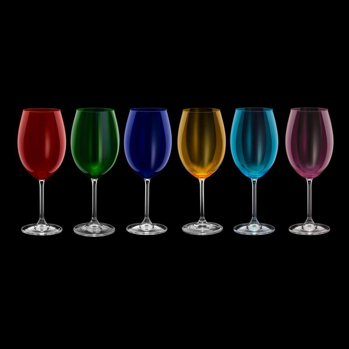 Jogo 6 taças 580ml para água de cristal ecológico coloridos Gastro/Colibri Bohemia - 35048
