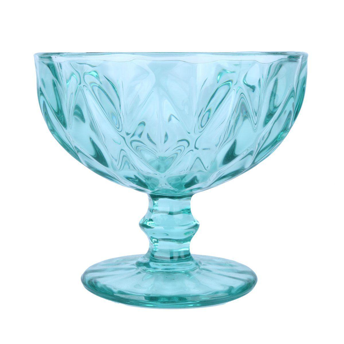 Jogo 6 taças coupe 12 cm para sobremesa de vidro azul tiffany Diamond Lyor - L66936