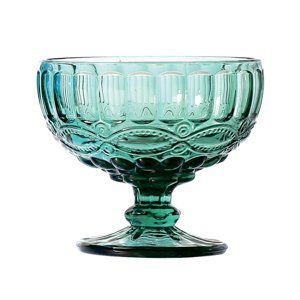 Jogo 6 taças coupe 12 cm para sobremesa de vidro azul tiffany Libélula Lyor - L66948