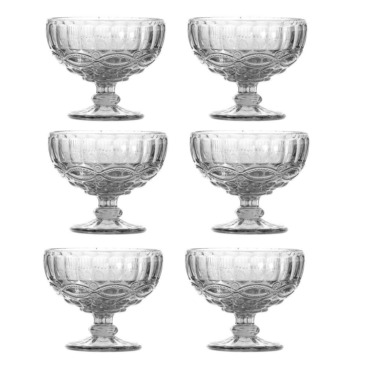 Jogo 6 taças coupe 12 cm para sobremesa de vidro transparente Libélula Lyor - L6480